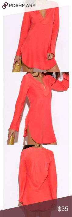 Coming-Coral BOHO tunic-top or mini-dress. Coral BOHO tunic-top or mini-dress.  Trendy scallop hem with side slits.  Dress it up with heels for a summer soirée or rock it with jean shorts and BOHO bag.  100% Rayon. A must have for your wardrobe. FIRM price. Tops
