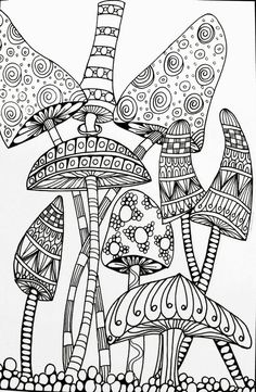 Trippy Mushroom Coloring Pages Free | Free Coloring Books | Coloring pages Mandala coloring pages Free coloring pages