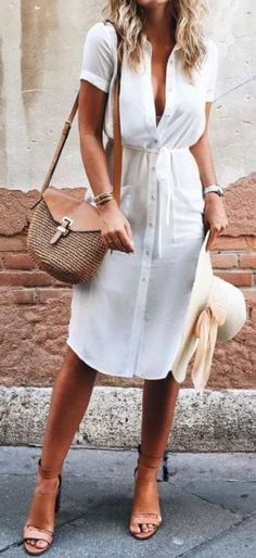 #summer #outfits / white button up dress