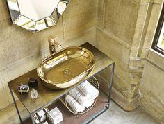 Lavabo dorado de la colección Gold & Silver de Bathco