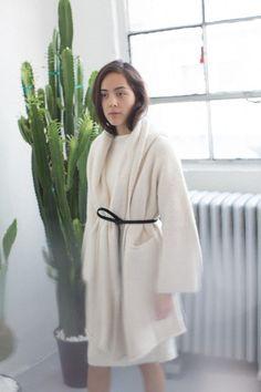 Lauren Manoogian White Capote Coat
