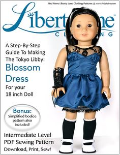 Pixie Faire Liberty Jane Blossom Dress Doll by PixieFairePatterns, $3.99