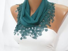 Green Cotton Scarf - Headband - Cowl with Lace Edge $12.90