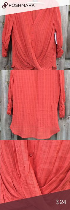 A.n.a. NWT awesome Fall Top Small Lovely top with 3/4 length sleeve or long sleeve option. Gathering  at waist. a.n.a Tops Button Down Shirts