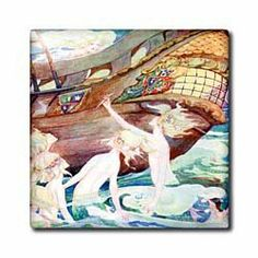 """Mermaids And Wooden Ship - 12 Inch Ceramic Tile by 3dRose. $22.99. High gloss finish. Dimensions: 12"""" H x 12"""" W x 1/4"""" D. Clean with mild detergent. Construction grade. Floor installation not recommended.. Image applied to the top surface. Mermaids And Wooden Ship Tile is great for a backsplash, countertop or as an accent. This commercial quality construction grade tile has a high gloss finish. The image is applied to the top surface and can be cleaned with a mild detergent."""