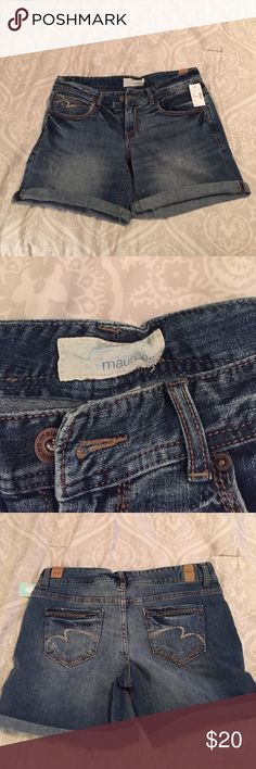 BRAND NEW Jean Shorts. Size 9/10. BRAND NEW, NEVER WORN!! Medium wash jean/denim shorts from Maurices. Cuffs are not permanent. Size 9/10. Maurices Shorts Jean Shorts