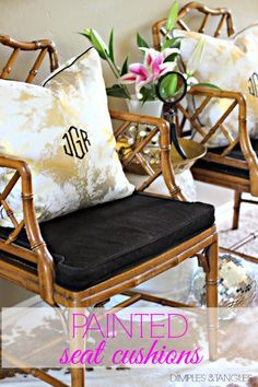 Dimples and Tangles: CHINESE CHIPPENDALE CHAIRS WITH PAINTED SEAT CUSHIONS