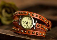 Orange women's leather wrapped rivet watches, bracelet, OSX025 -1O - $12.90 | odonatum - Accessories on ArtFire
