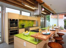 green quartz countertop, pro range hood - designer kitchens la #07