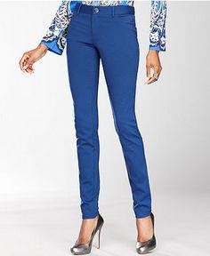 $40.99 INC International Concepts Pants, Skinny Five-Pocket Ponte-Knit - Womens Pants - Macy's