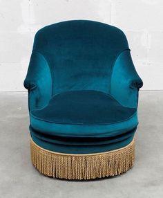 petrol blue velvet armchair w/ fringe Blue Armchair, Velvet Armchair, Peacock Blue Bedroom, Fantasy Bedroom, Booth Seating, Single Chair, Romantic Homes, Blue Velvet, Home Furnishings