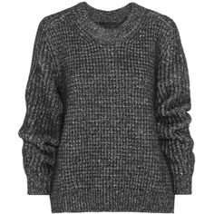 Belstaff Rorrington oversized cotton-blend sweater ($310) ❤ liked on Polyvore featuring tops, sweaters, shirts, jumpers, charcoal, loose fit tops, oversized tops, loose shirts, loose tops and loose fitting shirts