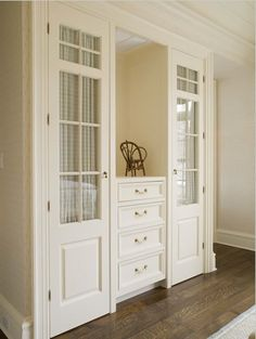 Beautiful...bedroom Storage Notice Fabric Behind Glass.