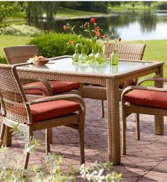 Martha Stewart Living Charlottetown Natural 5-Piece All-Weather Wicker Patio Dining Set with Quarry Red Cushion-65-55651 - The Home Depot