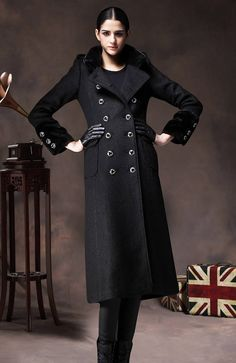 Black Wool Coat Long Winter Jacket Cashmere Coat Dress with Fur High Collar on Etsy, US$199,00