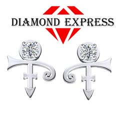 1/3 Ct Round Cut PRINCE Singer Artist Symbol Stud Earrings. Starting at $1