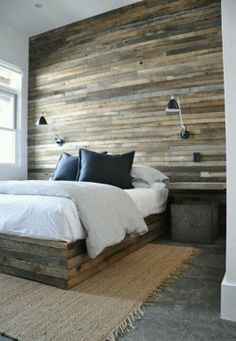 Reclaimed Wood Wall & Attached Bed - LOVE the industrial look!