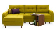 EMPIRE L SECTIONAL SOFA BED WITH STORAGE - LEFT - MUSTARD