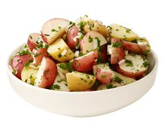 Herb-Vinegar Potato Salad : Mix 1 cup chopped mixed parsley, dill and chives, 1/2 cup chopped shallots, 6 tablespoons each white wine vinegar and olive oil, and salt and pepper. Toss with 2 pounds boiled quartered new potatoes.