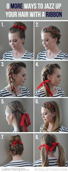 Ways to Style Hair With a Ribbon. Click through for tutorials for each look.