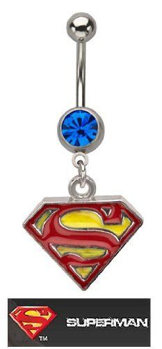 Officially Licensed Dc Comics Superman Shield S Red & yellow dangle Belly navel Ring piercing bar body jewelry 14g playful piercings. $10.00