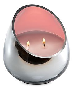 Pink Amber Rose Chrome Candle