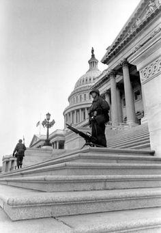 Soldier stands besides his M60 machine gun, which is mounted on the steps of the U.S. Capitol to deter rioters from entering the building during the social unrest following the assassination of Martin Luther King Jr., April 1968. In light of the fact that Trump supporters successfully storming the Capitol building in recent days, many have noted that the building only appears to be well protected when Black and Brown protestors are at its steps. James Earl Ray, Martin Luther King Assassination, Presidents In Order, Civil Rights Leaders, New Mods, Somewhere In Time, Criminal Justice System, Capitol Building, King Jr