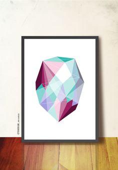 GEOMÉTRICA arte cartel A3 impresión facetas por TANGRAMartworks