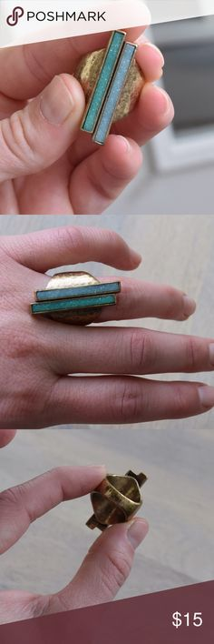 Lucky brand : Size 7 Druzy Ring Blue and green sparkly druzy ring. Size 7 with a brass colored band. This is a nice quality ring with a good solid feel to it. I don't wear a lot of jewelry and have only worn this a couple of times. Please note the other three rings shown in photo four can be found in my closet, but are not for sale in this listing. This listing is for the blue green druzy ring only, shown in photo 1. Lucky Brand Jewelry Rings