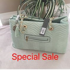 | NWT Perlina New York tote | Mint Spring green in this tote bag.Large enough for your laptop or MacBook and more..snap sides to extend the size. Two handles wrapped in a gold tone chain. Zipper at the top for closure and a small zip compartment on the back. Interior is a brown liner with side zipper compartment and two on the other side. A great buy if I say so myself. Seen a small Wristlet while shopping priced at $45.❤️👜 more pics upon request. Perlina Bags Totes