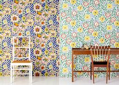 Josef Frank wallpapers: the left is Eldblomman in a new, blue, colourway – and right the fairytaley print Sagoträdet. Svenskt Tenn has reconditioned Josef Frank's wallpaper prints Scandi Wallpaper, Scandinavian Wallpaper, Print Wallpaper, Pattern Wallpaper, Wallpaper Designs, Josef Frank, Patterned Furniture, Safari, Surface Pattern Design