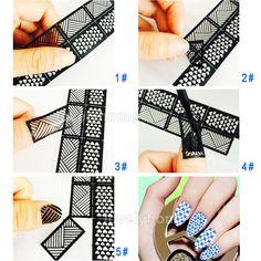 VENDITA CALDA Facile Strumento Stamping Nail Art Template Autoadesivi Timbro Stencil Guida Riutilizzabile Punte 24 Stile Per La Scelta