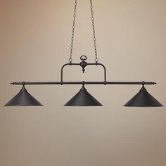 Bronze Three Light Billiard Chandelier