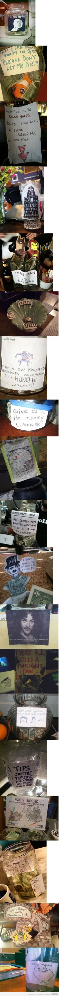 Creative ways to get people to tip... Really funny!