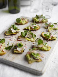 Party canapes: Avocado and radish canapes