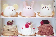 Kawaii cake for all of you~ Unique Recipes, Sweet Recipes, Cute Desserts, Dessert Recipes, Cute Food, Yummy Food, Kawaii Cooking, Kawaii Dessert, Animal Cakes