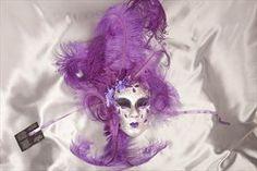 Purple and Silver Venetian Masquerade Wall Decor Mask - VOLTO FIORE