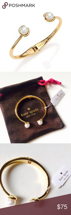 "Brand new Kate Spade Pearl open cuff Brand new Kate Spade 12K gold plated Pearl open cuff. Simple and elegant. About 2.35"" diameter, 0.45"" width. kate spade Jewelry Bracelets"