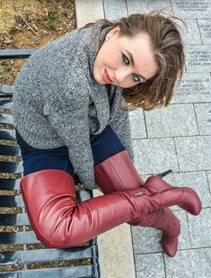 Red High heels boots
