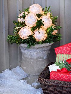 Create this look with Starburst String Lights, some natural evergreen branches and a pedestal pot. See  for more outdoor Christmas Decorations.