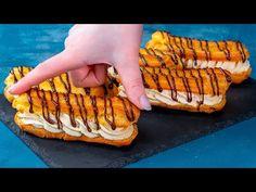 Podívejte se, jak připravit ty nejchutnější francouzské zákusky  Chutný TV - YouTube Eclairs, Hot Dog Buns, Hot Dogs, Romanian Desserts, Butter, Dessert Drinks, Cinnamon Rolls, Muffins, Sweets