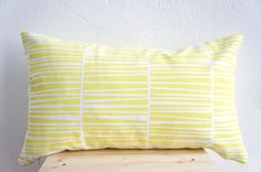 Handprinted Pillow Organic Cotton Lemon Cushion by laKattun, €34.00