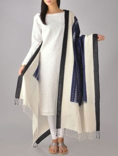 Navy Ikat Cotton Dupatta