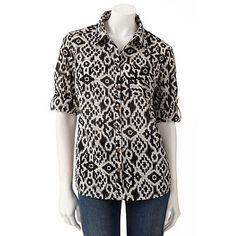 Croft and Barrow Ikat Button-Tab Shirt - Beige/Black - Kohls.com - Original Price 30 Dollars - Sale Price 15.30