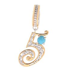 143-963- Gems en Vogue 4mm Sleeping Beauty Turquoise Lucky Number Slide-on Charm