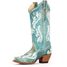 Corral Women's Turquoise Cortez/Cream Fleur de Lis Boot R1973