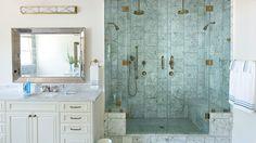 Master Bathroom Decorating Design: Splurge in the Shower - 65 Calming Bathroom Retreats - Southern Living Spa Master Bathroom, Beach Bathrooms, Dream Bathrooms, Beautiful Bathrooms, Bathroom Ideas, Master Shower, Bathroom Photos, Bath Ideas, Bathroom Renovations