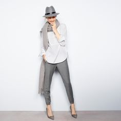 J.Crew Looks We Love: women's piqué bib shirt, Turner pant, brushed scarf in solid, classic felt hat with leather band and Elsie plaid pumps with bow.