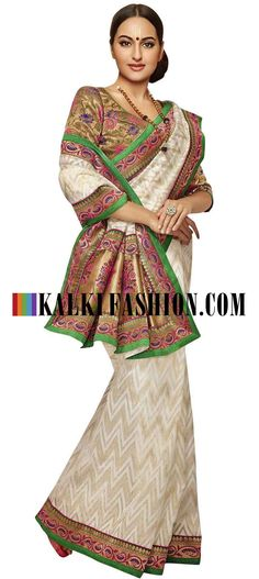 Buy Online from the link below. We ship worldwide (Free Shipping over US$100) http://www.kalkifashion.com/off-white-saree-featuring-in-floral-banarasi-pallav.html