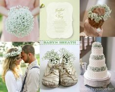 Baby's Breath Wedding Inspiration: Row 1:  | Baby's Breath Invitation | Teran Photography via Style Me Pretty | Row 2: Megan W Photography via Ruffled Blog | Kathleen Amelia Photography via Style Me Pretty | Vintage shoes and baby's breath via HWIT Blogg |